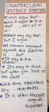 Argumentative Essay In A Sentence by Counter Claim Sentence Starters Writing Composition Class Anchor Charts Charts