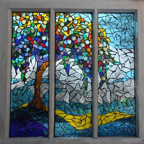 Mosaic Stained Glass Summers Colors Glass Art By Mosaic Glass Door