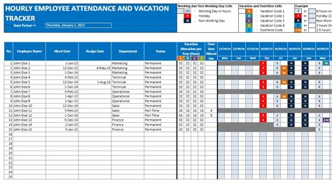 Vacation Calendar Employee Attendance Calendar And Vacation Planner