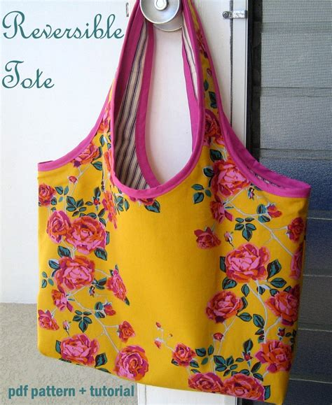 pattern tote bag reversible reversible tote bag pdf sewing pattern and tutorial by
