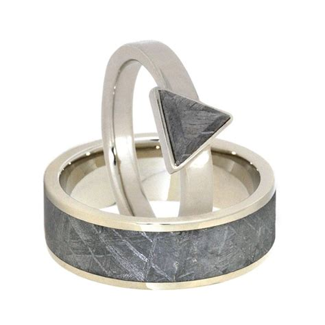 triangle meteorite ring set in 14k white gold with s