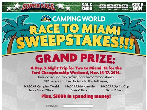 Sweepstakes Canada 2014 - cing world s 2014 quot race to miami quot sweepstakes sweepstakes fanatics