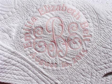 Monogrammed Baby Quilts by Personalized White Baby Quilt Monogrammed Embroidered Baby