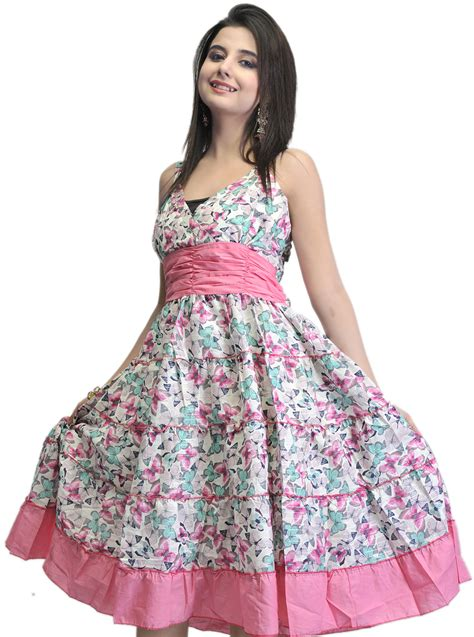 Barby Dress ivory and pink dress with printed flowers