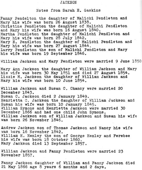 Jackson County Nc Records Search Jackson Notes From E Gaskins Pasquotank County Ncgenweb