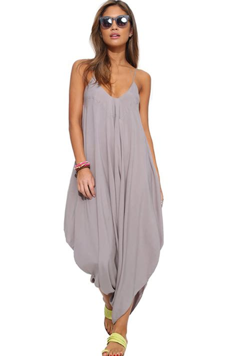 gray draped asymmetrical hem casual jumpsuit  sexy