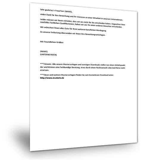 Absage Bewerbung Email Vorlage absage bewerbung nicht in die engere wahl 28 images