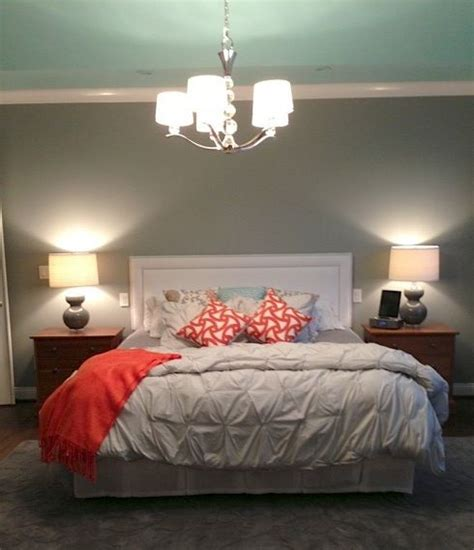 grey and light teal bedroom