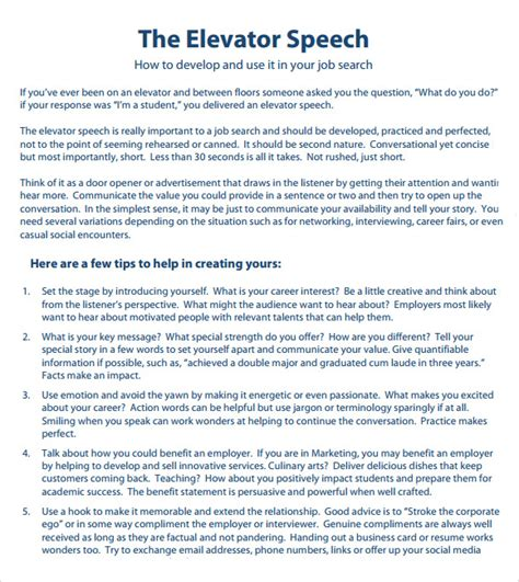 Elevator Speech Template elevator speech template playbestonlinegames