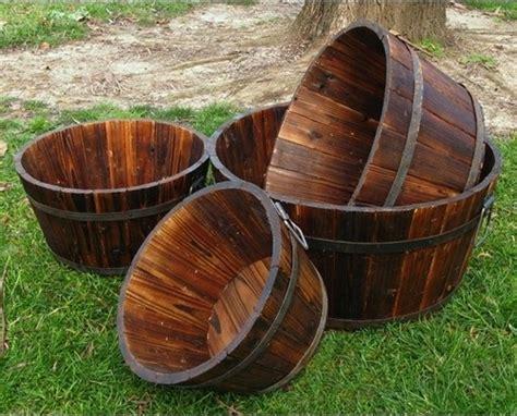 wood shallow cedar barrel planters set of 4