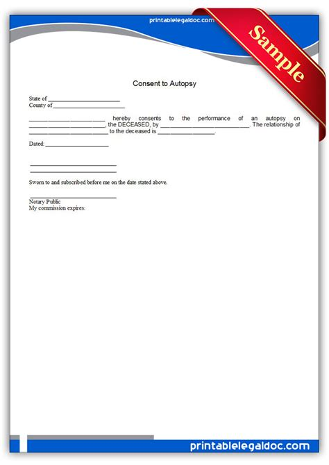 autopsy template free printable consent to autopsy form generic