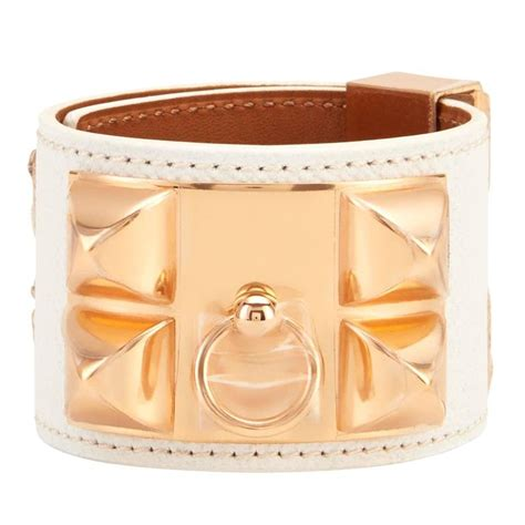 Hermes White CDC Collier de Chien Epsom Cuff Bracelet Gold Hardware at 1stdibs