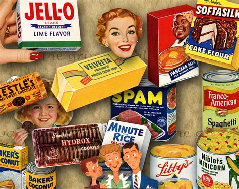 1950 s food digital printable 1950s foods collage sheet png for paper