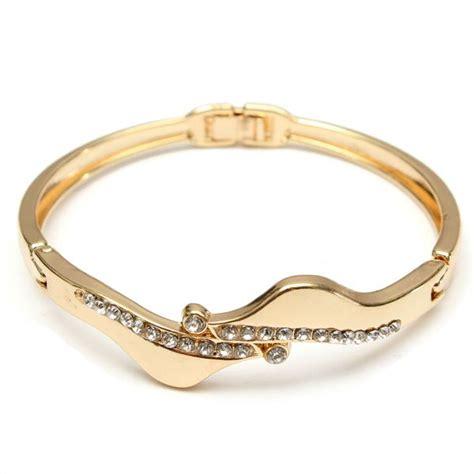 Gold Plated Filled Crystal Link Bracelet Bangle Women Jewelry   Alex NLD