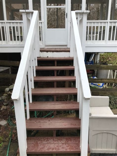 solid staining  painting  deck steps  railings
