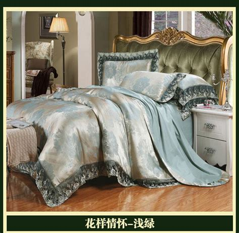queen comforter measurements blue green luxury brand lace satin jacquard bedding