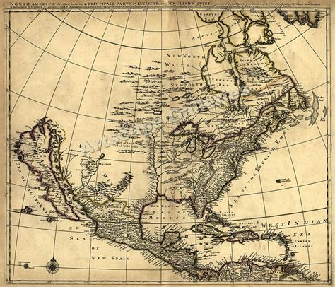 early maps 1685 historic map of early america 24x28 ebay