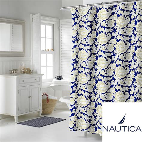 nautica shower curtains nautica palmetto bay cotton shower curtain contemporary
