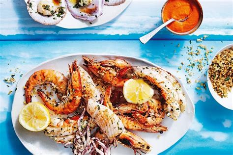 seafood gifts for christmas grilled seafood platter with romesco sauce and herb crumbs recipes delicious au