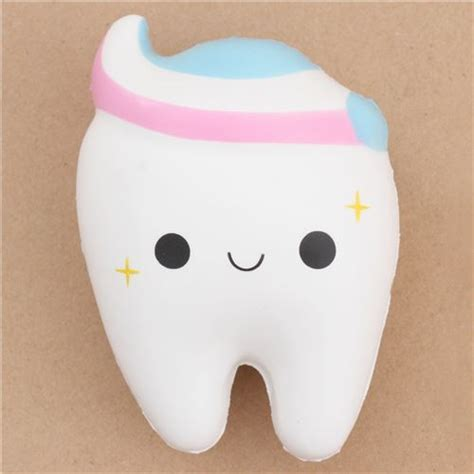 Tooth Squishy white tooth with pink white blue toothpaste squishy