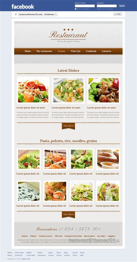 restaurant review a facebook restaurant page template by