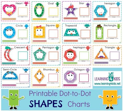 free printable dot to dot number rhyme charts printable dot to dot shapes charts learning 4 kids