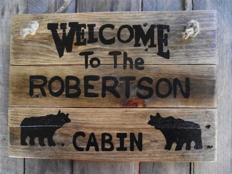 Rustic Cabin Signs by Personalized Cabin Sign Cabin Custom Name Sign Rustic