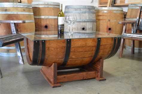 wine barrel coffee table glass top cork storage by