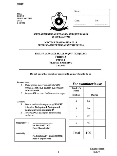 Format Novel Pt3 | form 2 english mid year 2014 examination pt3 formatted