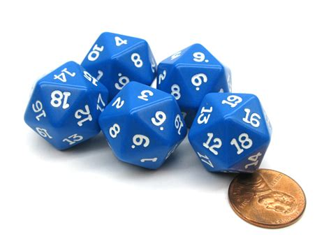 19mm Dice set of 5 twenty sided 19mm d20 opaque dice rpg d d blue