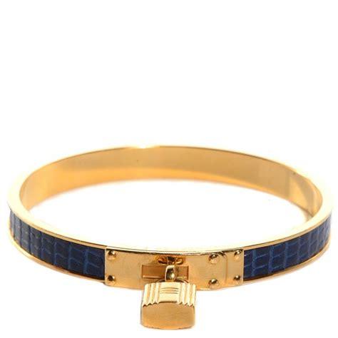 HERMES Vintage Lizard Kelly Lock Cadena Bracelet Bleu Roi 94246