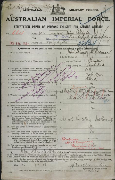 full birth certificate exeter williamson john christie service number 664 place of