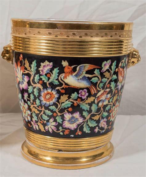 Cache Pots And Planters by Antique Porcelain Cache Pots Painted With Flowers