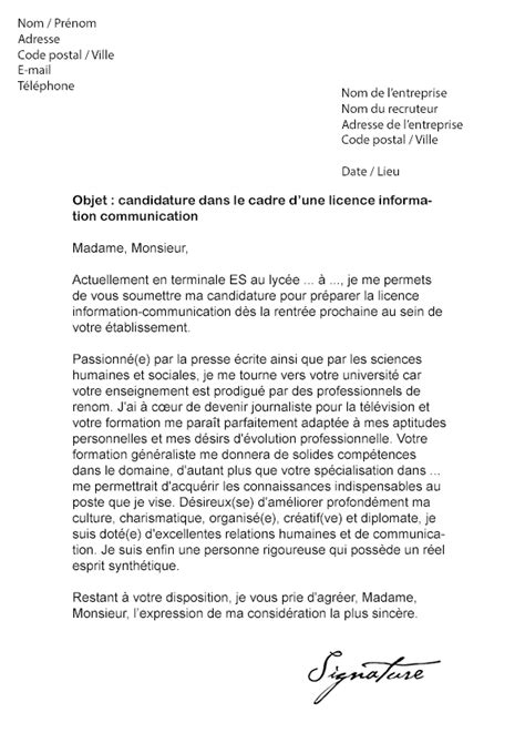Lettre De Motivation école De Journalisme Lettre De Motivation Licence Information Communication Mod 232 Le De Lettre