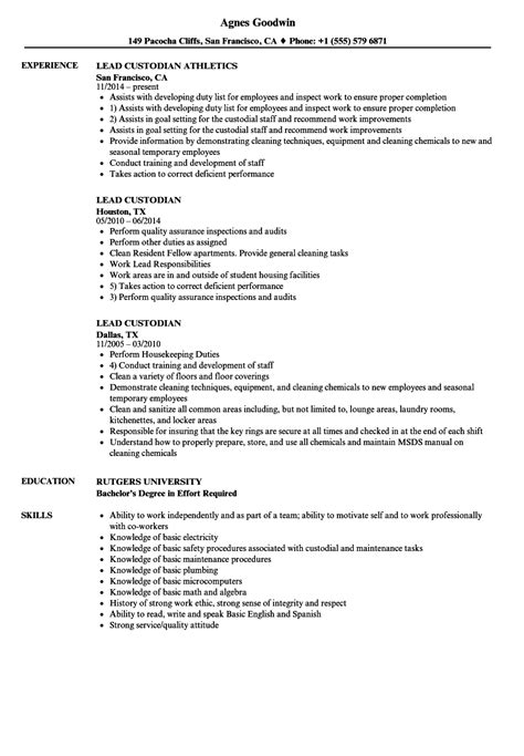 custodial worker sle resume education administrative