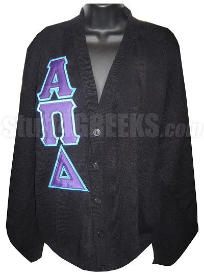 Cs R Sweater alpha pi delta letter cardigan black