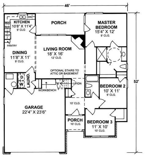 1100 square feet 1500 square feet 3 bedroom house plan house plan 178 1100 3 bedroom 1407 sq ft country