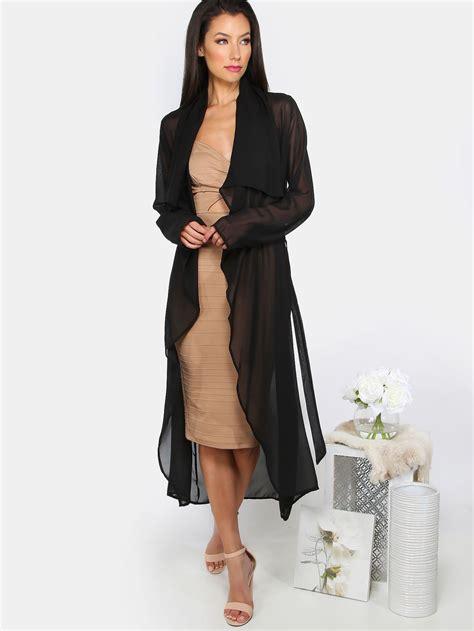 Daster Dress Midi Monocrome sheer waterfall duster coat black makemechic dusters
