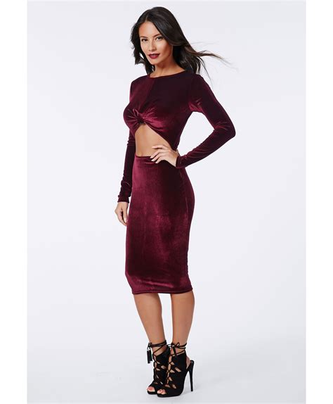 05 Dress Christine missguided christine velvet cut out midi dress burgundy in purple lyst