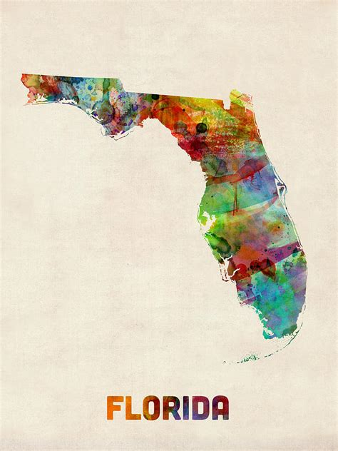 water color florida florida watercolor map digital by michael tompsett
