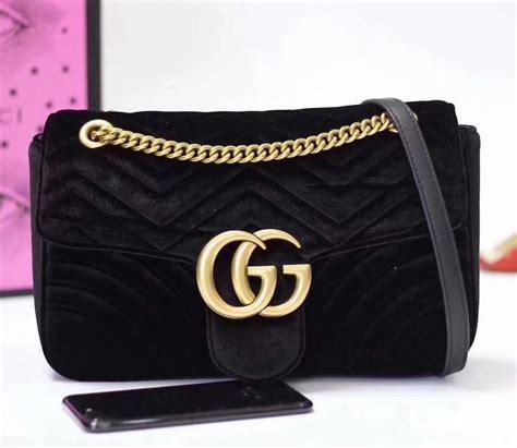 gucci gg marmont medium velvet shoulder bag 443496 black