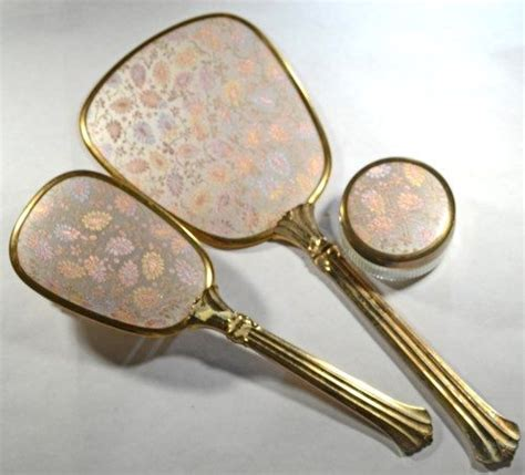 Vintage Brush And Mirror Dresser Set by Vintage Vanity Set Brush And Mirror And Jar