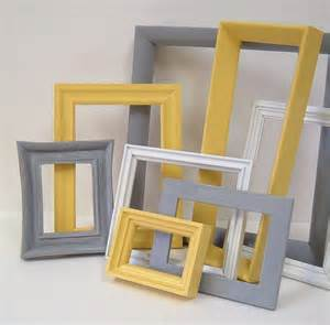 yellow and grey home decor picture frames by