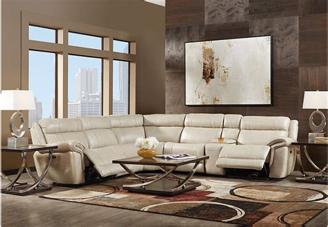 Living Room Reclining Sectionals Martino Beige 9 Pc Leather Power Reclining Sectional Living Room Reclining Sectionals Beige