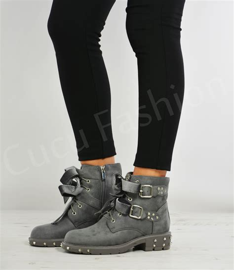 ladies ankle biker boots new womens ladies ankle biker boots lace up bow zip buckle
