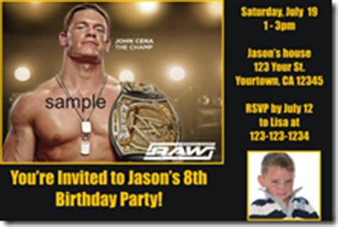 printable john cena birthday cards printable wwe invitations archives