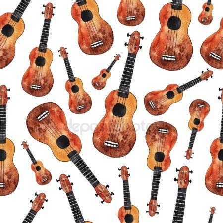 hawaiian strum pattern ukulele watercolor ukulele set hawaiian guitars on white isolated