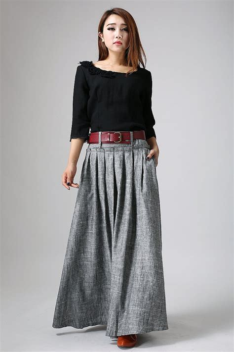 grey maxi skirt linen skirt pleat skirt