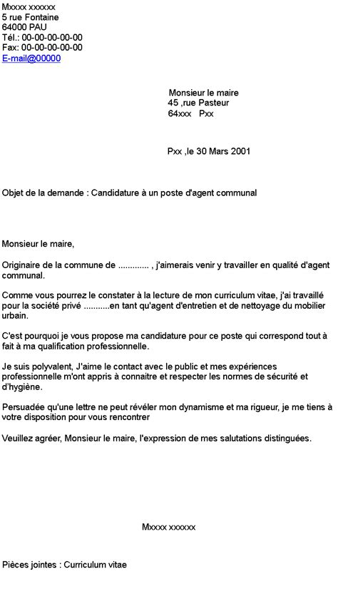 lettre de motivation communal