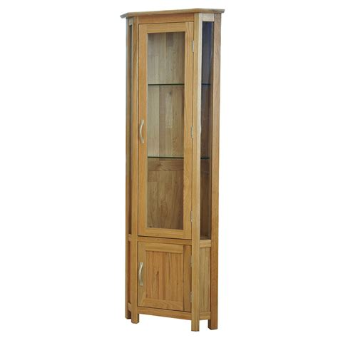solid oak glass corner display cabinet sherwood oak